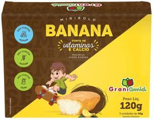 [PRIME] Minibolo de Banana sem Glúten, Lactose e Açúcar - Grani Amici 120g (3 unid)   R$6,11
