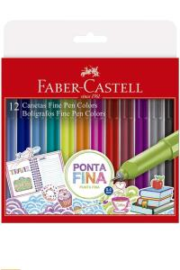 Caneta Ponta Fina, Faber-Castell, Fine Pen Colors, FPB/ES1ZF, Pacote com 12 Cores | R$30