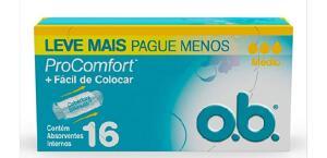 (Prime + Recorrência) Absorvente Interno Médio Pro Comfort, O.B., 16 Unidades | R$7