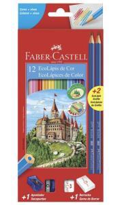 [Prime] Kit Lápis de cor Faber Castell + Borracha + Apontador + 2 Lápis | R$10