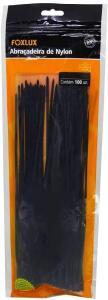 Abraçadeira Foxlux Nylon 140 x 2,5mm Embalagem Ziploc Preta | R$6