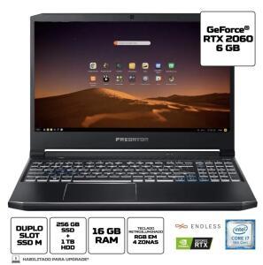 [AME+C.C. SUB] Notebook Gamer Predator PH315-52-79VM Intel Core i7 16GB 256GB SDD 1TB HD RTX 2060 | R$7.049