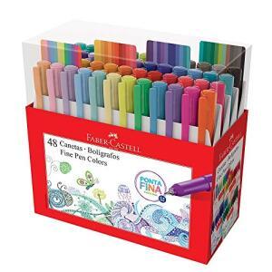 Caneta Ponta Fina, Faber-Castell, Fine Pen Colors, 48 Cores | R$140