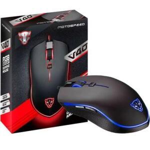 Mouse Gamer Motospeed V40, RGB, 4000 DPI, Preto - R$91