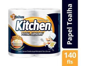 [App/Cliente Ouro] 10 pacotes - Papel Toalha Folha Tripla Kitchen Total Absorv - R$40