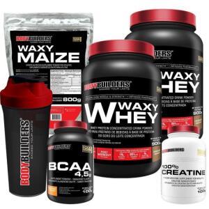 Kit 2x Waxy Whey 900g + BCAA 4,5 100g + Creatine 100g + Waxy Maize 800g + Coquet 600ML Bodybuilders R$100