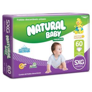 Fraldas Natural Baby Premium Hiper Mais SXG - 60 Unidades | R$59