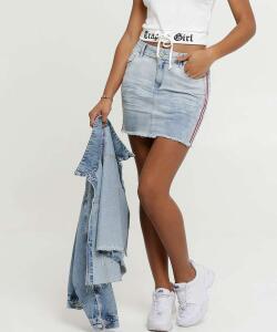 Saia Feminina Listra Zune Jeans R$23