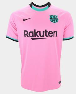 Camisa Barcelona Third 20/21 s/n° Torcedor Nike Masculina - Rosa e Preto - R$137,69