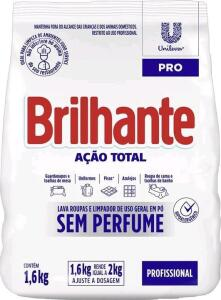 Sabão Em Pó Brilhante Profissional Ação Total Sem Perfume 1,6kg | R$11