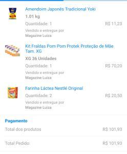 Kit Completo: 1kg de Amendoim + 2 pct de Farinha Láctea + 4 pct de fraldas