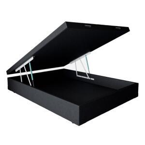 Base para Cama Box Casal Premium com Baú Corino (47x138x188) Preta | R$548