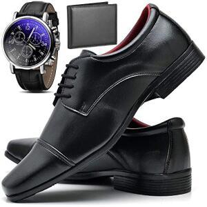 Kit Sapato Social Masculino com Relógio e Carteira ZARU 80