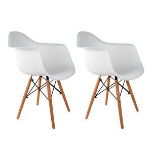 (PRIMEIRA COMPRA) Conjunto com 2 Cadeiras Charles Eames com Braço I Branco | R$269,90