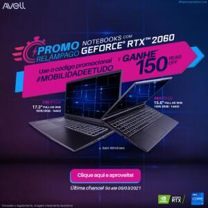 R$150 off em Notebooks Avell com Geforce RTX2060