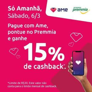15% Cashback AME no Posto BR