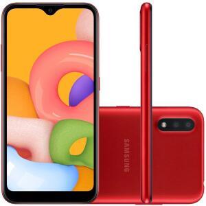 Samsung Galaxy A01 Vermelho 32GB 2GB RAM Câmera Dupla 13MP + 2MP | R$626