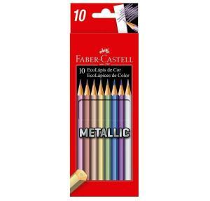 [PRIME] Lápis de Cor Sextavado, Faber-Castell, EcoLápis Metallic, 10 Cores - R$12