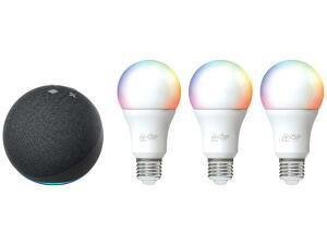 Echo Dot 4ª Geração + Kit Lâmpadas Inteligentes 3 Unidades - R$483