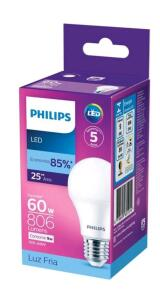 Kit Lâmpadas LED 10 Unidades Branca E27 9W - 6500WK Philips | R$70