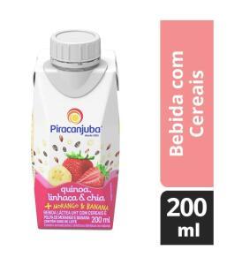 Bebida Láctea Quinoa Linhaça e Chia Sabor Morango e Banana Piracanjuba 200ml (Min.5)   R$1,60