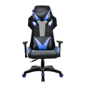 Cadeira Gamer Pelegrin Em Couro Pu Reclinável Pel-3014 Preta E Azul | R$ 1089