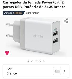 Carregador de tomada PowerPort, 2 portas USB, Potência de 24W, Branco | R$89