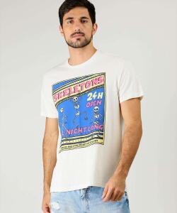 Camiseta Masculina Estampa Frontal Manga Curta MR (Tam G) R$13