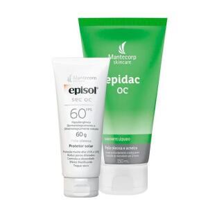Kit Protetor Solar Facial Episol Sec Oc Toque Seco FPS60 60g + Sabonete Líquido Facial Epidac OC 150ml R$46