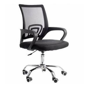 Cadeira de escritório Giratória Com Base Cromada - Preta - Mb-6010 - R$215
