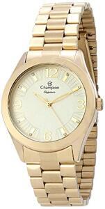 Kit Relógio Champion Dourado + Brincos e Colar Cn25216w | R$164