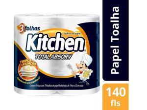 [LEVE 6 PAGUE 5 / OURO] Papel Toalha Folha Tripla Kitchen Total Absorv - 2 Unidades