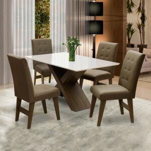 Conjunto Mesa de Jantar Off White Dubai 1,35m MDF | R$ 965
