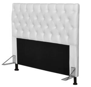 Cabeceira Cama Box Casal Queen 160cm Cristal Corino Branco - JS Móveis | R$290