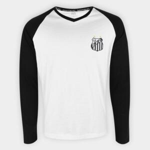 Camiseta Manga Longa Santos Classic Masculina - Branco | R$40