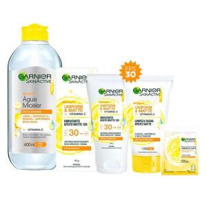Garnier Skin Vitamina C Kit - Água Micelar + Hidratante Facial + Máscara Facial + Limpeza Facial | R$81
