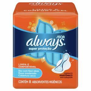 Absorvente Always Super Proteção Seca Com Abas 8 Unidades | R$ 1,49