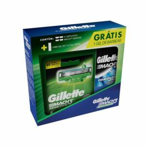 Kit Gillette Mach 3 Sensecare com 4 Unidades + Mini Gel de Barbear 71g | R$ 22