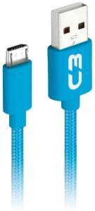 Cabo USB-Micro USB C3Plus 1M 2A Azul - CB-M11BL   R$9