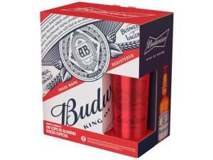 Kit Cerveja Budweiser American Standard Lager - 4 Unidades 330ml com 1 Copo | R$ 40