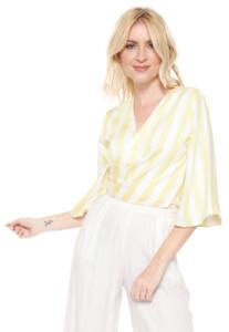Blusa Cropped Lez a Lez Listrada Amarela/Branca