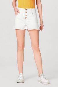 Shorts Feminino Em Algodão Com Elastano E Botões Hering - R$36