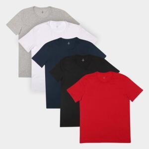 Kit Camiseta Burn Básica C/ 5 Peças Masculina | R$93