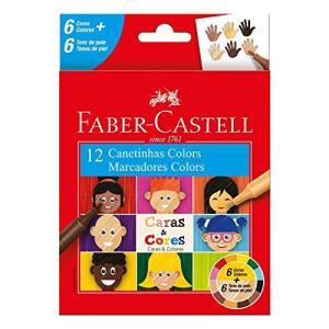 [Prime] Canetinha, Faber-Castell, Caras & Cores, 6 Cores + 6 Tons de Pele | R$9