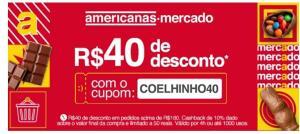 R$40 de desconto + 10% cashback no mercado