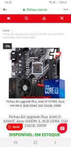 Pichau Kit upgrade Plus, Intel i3-10100F, Asus H410M-E, 8GB DDR4, SSD 256GB, 500W