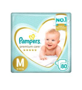 (Cliente Ouro) (2 pacotes) Fralda Pampers Premium Care M 80 unidades R$118