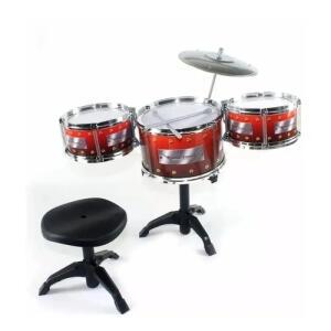 Bateria Musical Infantil com 3 tambores+ Banqueta | R$102