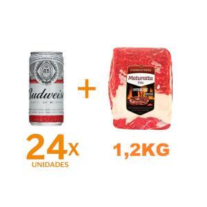 Kit 24 Cervejas BUDWEISER lata 269ml + Entrecote Filé Costela Bovino Maturatta Friboi 1,3kg | R$58