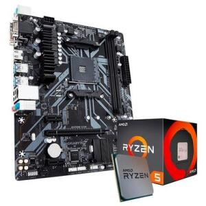 Kit Processador AMD Ryzen 5 1600 + Placa-Mãe Gigabyte B450M S2H, AM4, mATX, DDR4 - R$1206